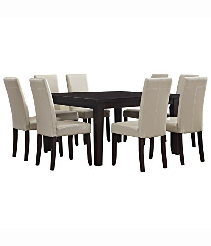 Simpli Home 9 Piece Acadian Dining Set, Satin Cream (Square Dining Tables compare prices)