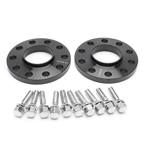 ZY Wheel 2pcs 15mm Black Hubcentric 5x120 Wheel Spacers (72.6mm bore) with 10pc Silver Lug Bolts (12x1.5) for many BMWs E36 E46 E90 E92 E60 318i 323i 325i 328i 330i 335i 525i 545i Z3 Z4 Z8 M3 X1 - Bmw E36 325is Coupe