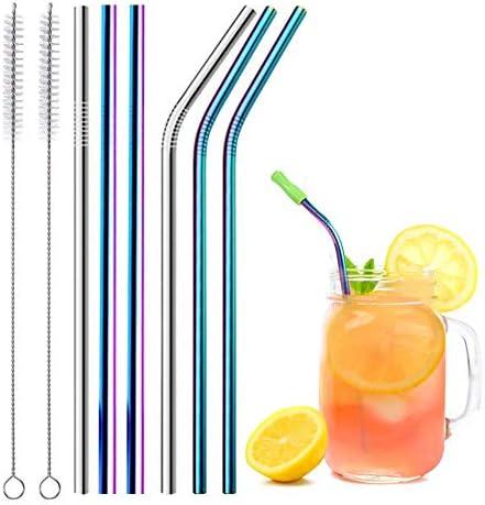 Kurze und Lange Regenbogen Metallstrohhalme Wiederverwendbare Metall Strohhalme Edelstahlstrohhalm. Rainbow Straws Edelstahl Strohhalme bunt