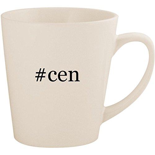 #cen - White Hashtag 12oz Ceramic Latte Mug Cup