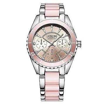 Fashion Watches Relojes Hermosos, Mujer Reloj de Vestir Reloj de Moda Cuarzo Acero Inoxidable Banda De Lujo Plata Rosa (Color : Rosa): Amazon.es: Deportes y ...