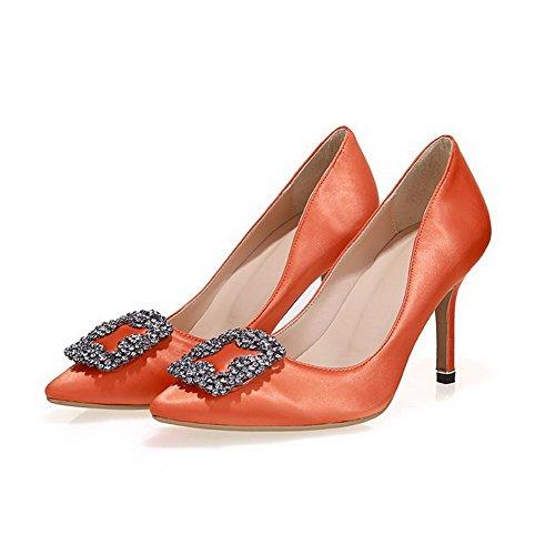 Vedettävä Amoonyfashion Toe Päälle Solid Pumppuja Huomautti Orange9cm Suljetun Korkokengät kengät Naisten qqRErxS