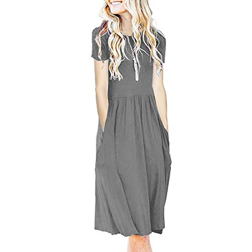 IMBOAZ Women's Short Sleeve Pleated Empire Waist Loose Swing Plain Casual Midi T Shirt Flare Dress with Pockets Gray (Solid Pleated Dress)