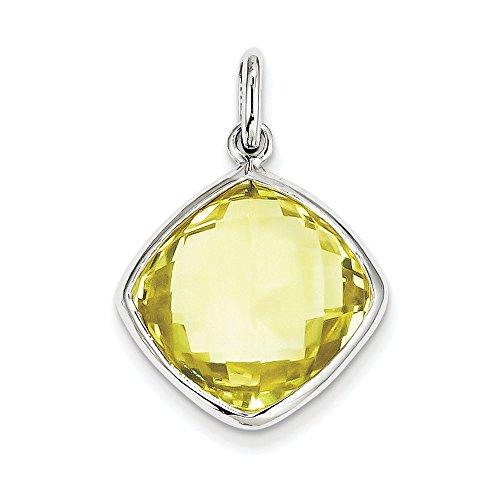 Pendentif Argent 925/1000-Quartz jaune-JewelryWeb