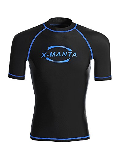 Diva Short Sleeve T-shirt (DIVE & SAIL Men's Rash Guard Short Sleeve UPF 50+ UV Protection Rash Vest T-Shirt Top (XXXL, Black))