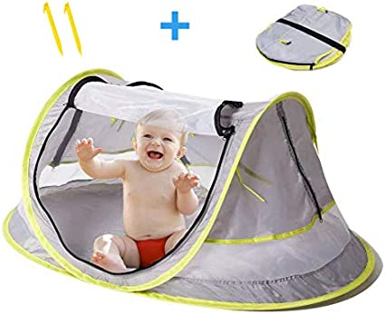 Amazon Com Baby Tent For Beach Indoor Outdoor Uv Upf Sun Protection With Mosquito Net Cover Perfect For Travel Popup Assembly Of Canopy Great Gift For