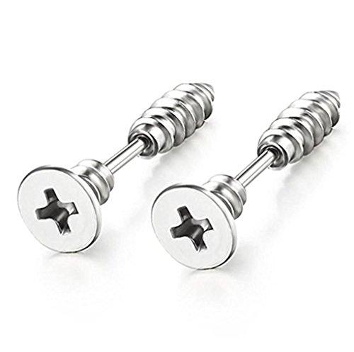 Earrings Screw Design Back (Chryssa Youree Mens Womens Stainless Steel Screw Stud Earrings Jewelry Pierced Tunnel (ED-41) (silver))