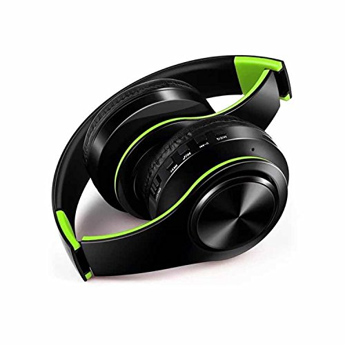 Price comparison product image New Wireless Headphones Audiofonos Bluetooth Headset Foldable Headphone Adjustable Earphones With Microphone For Pc Mobile Phone Mp3 (Black and Green)