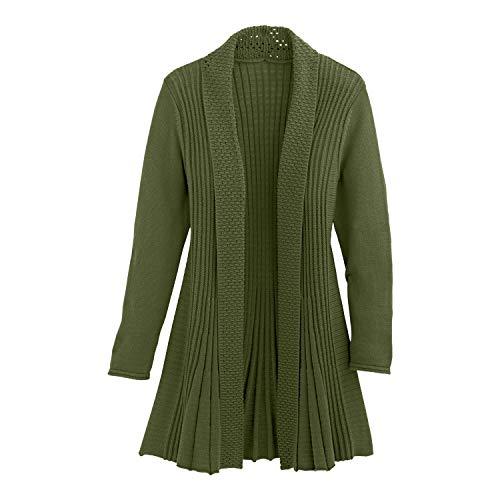 Cardigans for Women Long Sleeve Midweight Swingy Knit Cardigan Sweater W/Pocket-Olive (Medium) - Oversized Wrap Cardigan