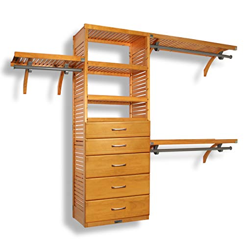 John Louis Home 16in. Deep Deluxe Organizer - 5 Drawers (6 & 8in. Deep) - Honey Maple Finish ()