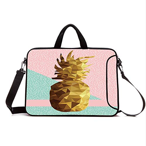 "13"" Neoprene Laptop Bag Sleeve with Handle,Adjustable Shoulder Strap & External Side Pocket,Indie,Retro Summer Concept Pineapple Fruit in Poly Design Memphis,Light Pink Mint Green Light Brown"