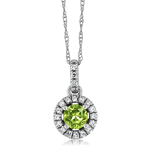 18K White Gold Diamond Halo Solitaire Pendant with 0.40 Ct Round Green Peridot by Gem Stone King