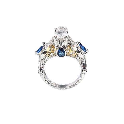 Respctful (●˙▾˙●) Women Fashion Design Crystal Ring Creative Ring Jewelry Gift Temperament Ring Accessories ()