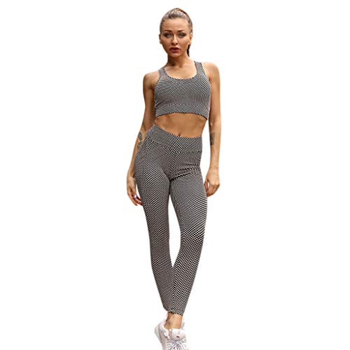 Women's Polyester Pants Gym Running Elastic Yoga Leggings Vest Sports Casual Trousers Suit High Waist Skinny ()