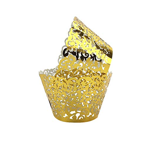 Yellow Gold Stock - Gold Yellow Cupcake Wrappers 100pcs/pack Lace Cupcake Liners Laser cut Cupcake Papers cupcake cups Muffin cups for Wedding/Birthday Party Decoration