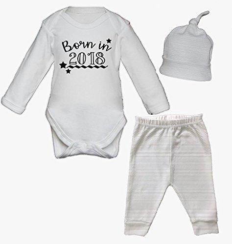 Born in 2018 Baby Vest Pants and Hat Set Babygrow New Baby Gifts Newborn baby Gifts Personalised Babywear Hospital Outfit