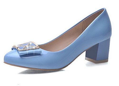 AllhqFashion Damen Lackleder Rein Ziehen auf Rund Zehe Mittler Absatz Pumps Schuhe Hellblau