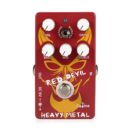 (Caline Red Devil Guitar Effects Pedal Heavy Metal Distortion Vintage Modern Mid Bass Treble True Bypass CP-30 Guitarists Gifts)