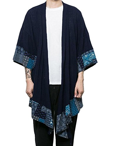 - COOFANDY Men's Cotton Linen Cardigan Kimono Style Poncho Cloak Open Front Cape,Navy Blue,Small