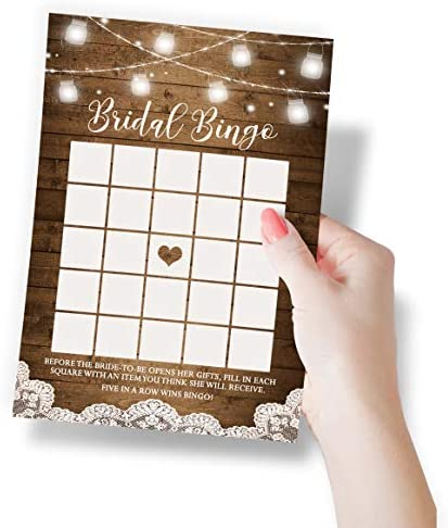 Rustic Bridal Shower Games, Set of five Games, 50 Sheets Each, Bridal Shower Games and Wedding Anniversary Activities, Includes Marriage Advice Cards and Emoji Game, 5 x 7 Inches