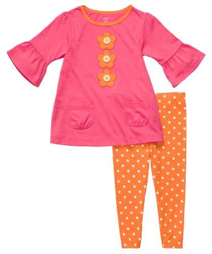 Carters Girls 3024 Months Daisy Pocket Legging Set (6 Months, Pink/Orange) - Infant Girl Carters Daisy