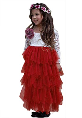 - Girls Backless Lace Dress Flower Girl Long Sleeve Tutu Party Dresses