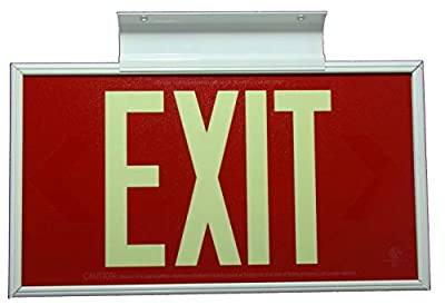 Glow in The Dark Emergency EXIT Signs. Non Electric UL Listed. Industrial Grade. PhotoLuminescent. (Red, 50 Feet, 50R-SWW)