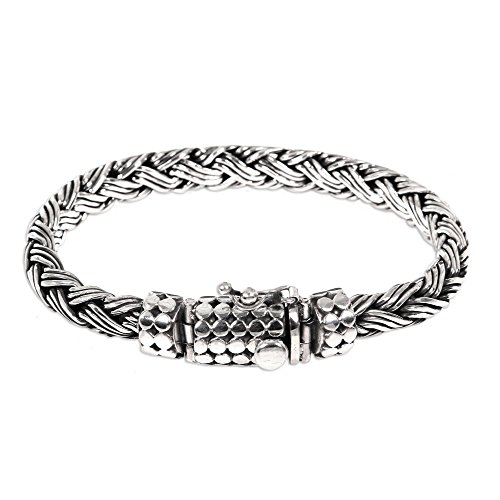 NOVICA .925 Sterling Silver Men's Braided Chain Bracelet - Sterling Silver Bracelets Braided