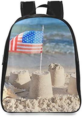 Sand Castle Bandera Americana en la Playa Mochila Juvenil Mochilas universitarias Mochilas para Viajes Imprimir Cremallera Estudiantes Unisex Adultos Adolescentes Regalo