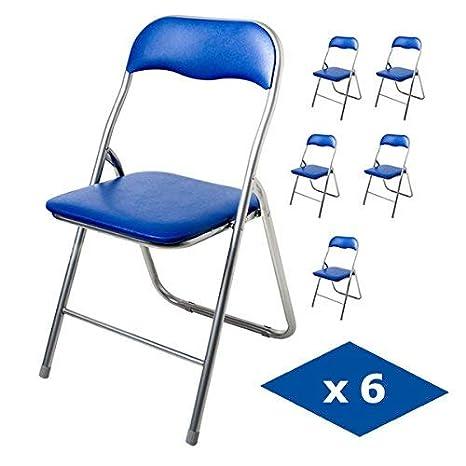 Innova Pack 6 SILLAS Plegables Polo, Color Azul (43,9 x 44,5 x 78 cm)