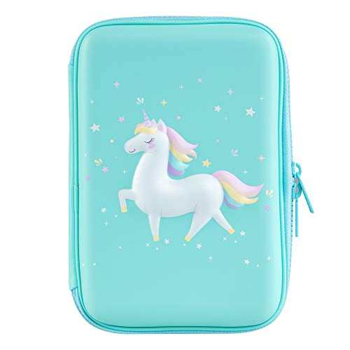 - Gooji Unicorn Pencil Case for Girls (Hard Top) Magical 3D Creature, Bright Colored Storage Box | Compact and Portable Home, Classroom, Art Use | Markers, Pens, Colored Pencils (Blue)