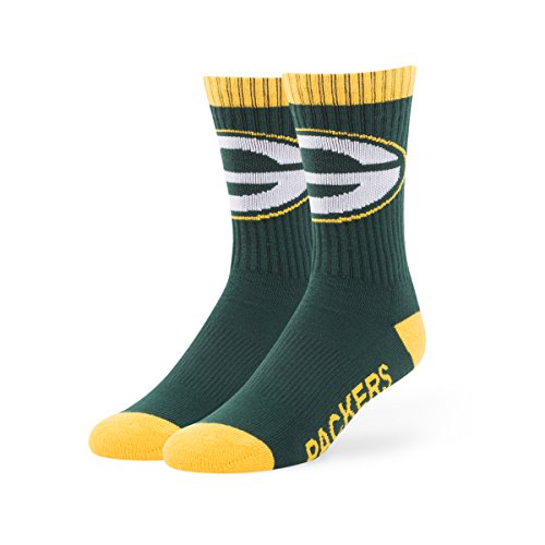 NFL Green Bay Packers Men's '47 Bolt Casual Dress Crew Socks, Dark Green, Large, 1-Pack