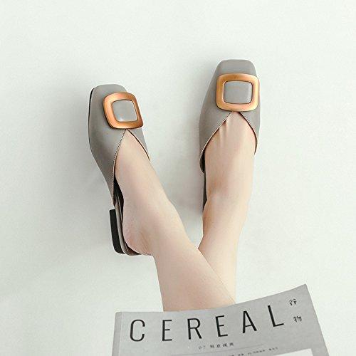ITTXTTI Zapatillas de Verano Femenino Desgaste de la Nueva Moda Salvaje Plana Cabeza Cuadrada Sandalias de Gran Tamaño Hebilla Cuadrada Baotou Medio Arrastrar Zapatos de Mujer B
