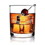70 yr old birthday - 1948 70th Anniversary Birthday Gifts for Men and Women - Whiskey Glass 11 oz 70 Year Old Presents for Him, Her,Dad, Mom,Husband,or Wife Party Favors