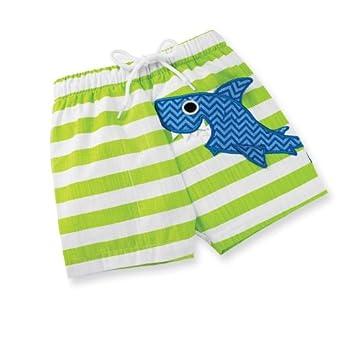 729b2c8ea5 Mud Pie Baby-boys Newborn Boathouse Shark Swim Trunk, Green/Blue, 9 ...