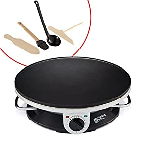"Magic Mill 13"" Professional Electric Crepe Maker & Griddle, Non-stick Cooking Plate, Variable Temperature Control, Includes: Batter Spreader, Wooden Spatula, Oil Brush and ladle, 1000 W"