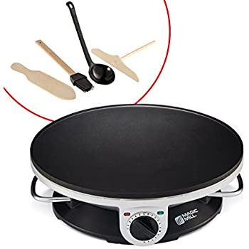 """Magic Mill 13"""" Professional Electric Crepe Maker & Griddle, Non-stick Cooking Plate, Variable Temperature Control, Includes: Batter Spreader, Wooden Spatula, Oil Brush and ladle, 1000 W"""