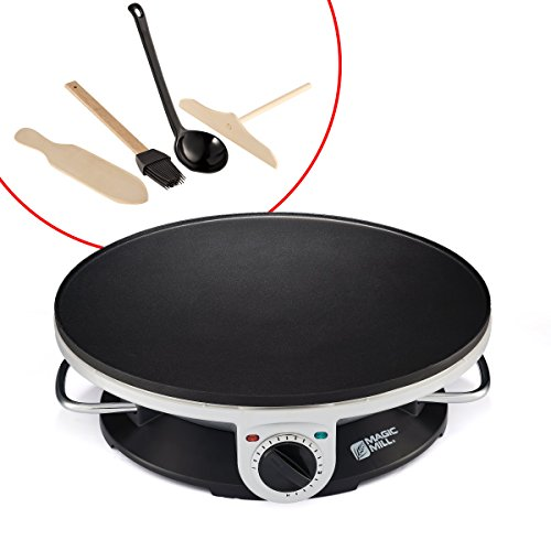 Magic Mill 13quot Professional Electric Crepe Maker amp Griddle Nonstick Cooking Plate Variable Temperature Control Includes: Batter Spreader Wooden Spatula Oil Brush and ladle 1000 W