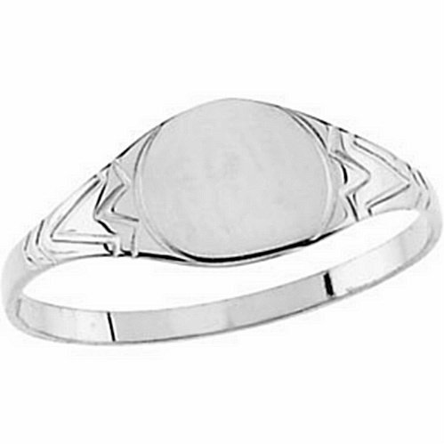 Size 3 Childrens Sterling Silver Youth Round Signet Ring