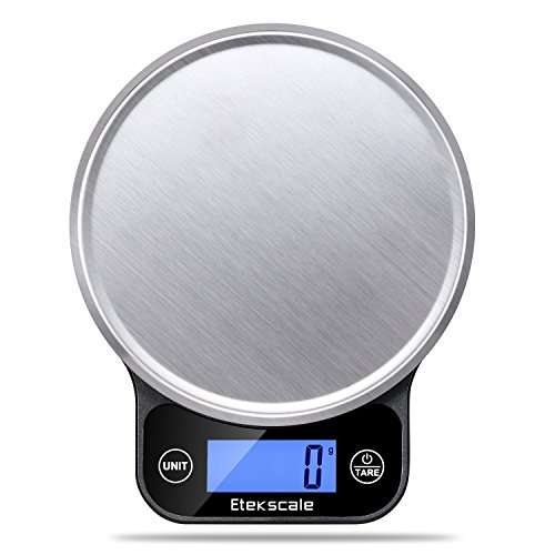 (Food Scale Kitchen Digital Scale with Blue Backlit LCD Range From 0.04oz (1g) to 11lbs(5000g) in Elegant Black)
