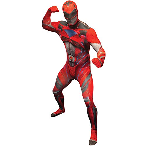 Official Red Deluxe Movie Power Ranger Morphsuit Fancy Dress Costume - size Xlarge - 5'10-6'1 -