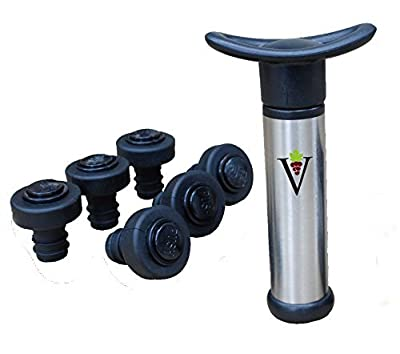 DeVine Wine Saver Pump - Wine Preserver kit; Includes a Vacuum Pump + 2 Wine Stoppers, Airtight Seal