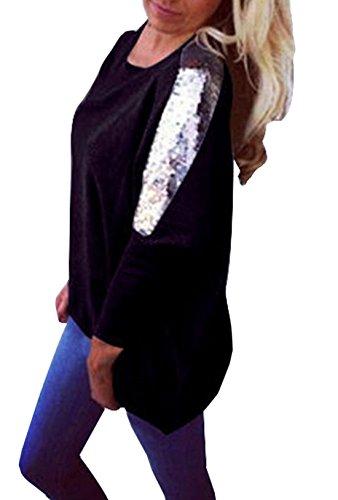 Rond Shirt Casual Shirts Longues Longue Automne Femmes Printemps Col et Sweat Noir T Tunique Pulls Tops Paillettes Manches pissure Jumpers Hauts Blouse OUFour fqYv8w7