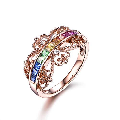 Adisaer-Tsavorite 18K Rose Gold Women's Ring 1.24ct Red Princess