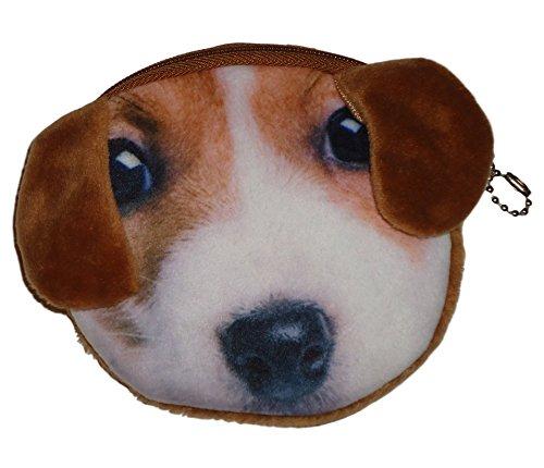 Flauschiger Kindergeldbeutel / Kinderportemonnaie (Münzbörse) mit süßem Hundemotiv (Hündchen/Welpen als 3D Animal Print) inkl. Plüsch-Ohren (mit Reißverschluss) (Braun-Weiß)