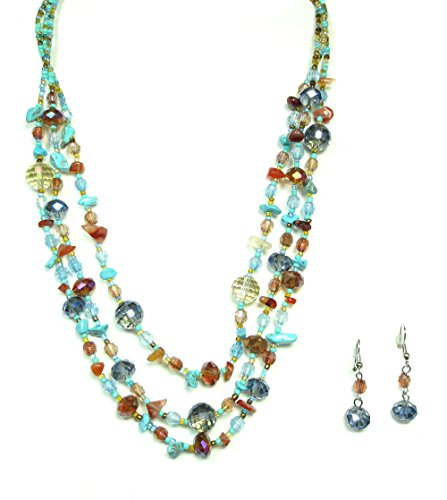 Neo Ethnic Costume (Goldtone Blue Glass Crystal Beaded Necklace and Earrings Set (Blue))