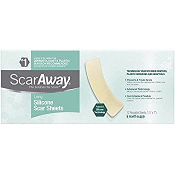 ScarAway Long Professional Grade Silicone Scar Treatment Sheets - 12 Multi-Use Adhesive Soft Fabric Strips, 1.5 x 7 In.