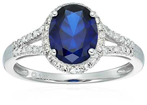 10k White Gold Created Blue Sapphire and Diamond Oval Halo Engagement Ring (1/5cttw, H-I Color, I1-I2 Clarity), Size -