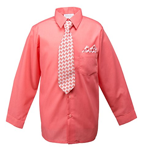 Spring Notion Boys Dress Shirt with Tie and Handkerchief Set 4T Melon