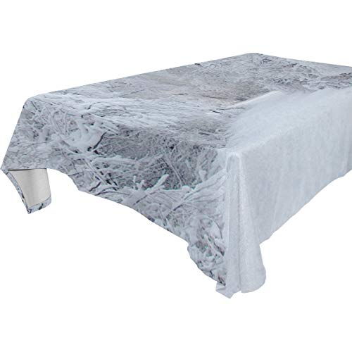 Table Cloth Snow Storm Rectangle/Oblong Polyester Tablecloth Washable Table Cover for Dinner Picnic, Buffet Table, Parties